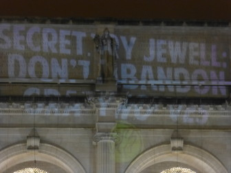 """Secretary Jewell: Don't Abandon Gray Wolves"" projected onto Union Station in Washington, DC"