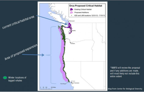 CURRENT CRITICAL HABITAT AND PROPOSED EXPANSION FOR SOUTHERN RESIDENT ORCAS MAP (CENTER FOR BIOLOGICAL DIVERSITY)