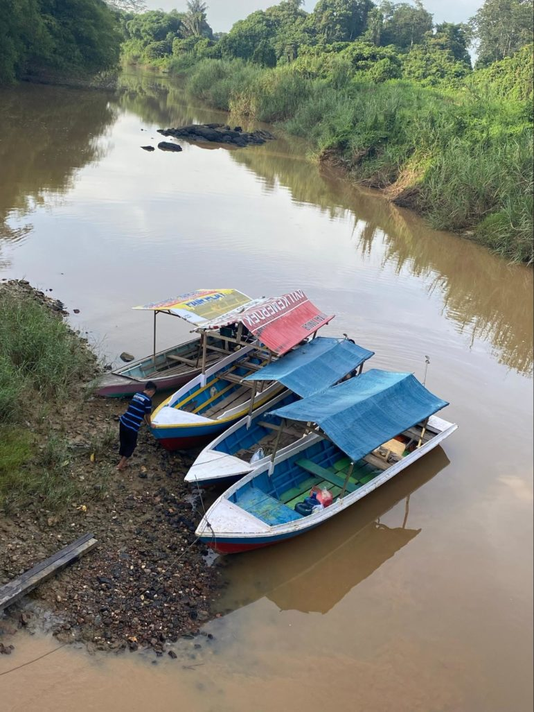 Boats at rest on island in river